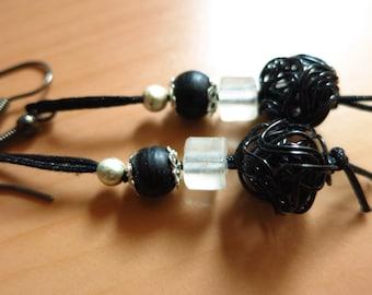 Black and white fancy drop earrings