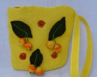 Children purse cherries wet felted