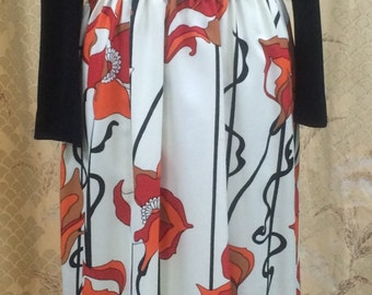 1970s Black Print Maxi Dress,Hippie dress/black, orange and white Boho dress