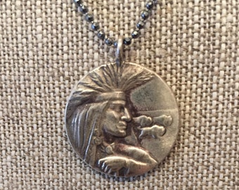 Oxidized Sterling Silver Native American Pendant with Chain