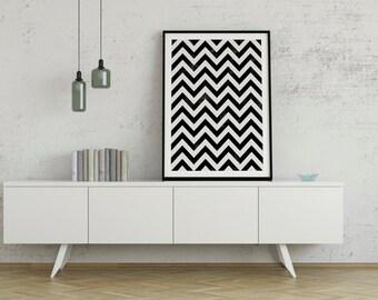Chevron Print, Triangles, Geometric Prints, Minimalist Abstract Art, Geometric Print, Mountains Print, Abstract, Home Art, Nordic Design
