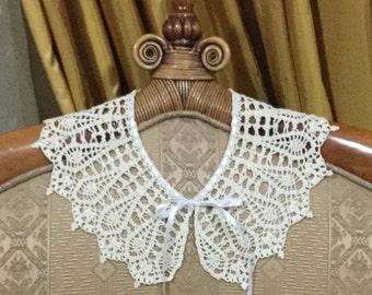Ecru Crochet Collar Handmade Lace Collar Woman Neck Accessory Knitted Collar Feminine Gift Collar for Women Detachable Collar