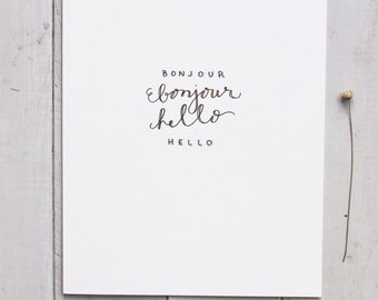Bonjour Hello Art Print- Hand Drawn/ Painted Print- Home Decor
