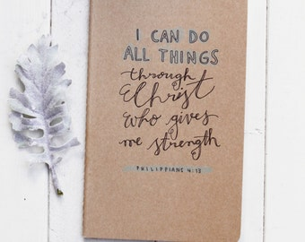 Kraft Journal- Cahier Notebook- I Can Do All Things- Inspirational- Verse- Quote