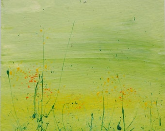 Hand painted card- Green Meadow