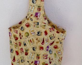 Reusable shopping bag, lady's hand bag, upcycled hand bag, gift for chef, culinary hand bag, cuisine hand bag, unique hand bag, produce bag
