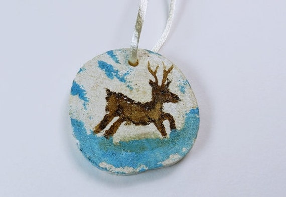 Deer Deer-Tree decoration christmas ornaments-hand painted Dekoanhänger of wood-unique