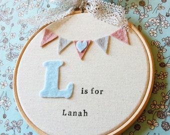 Personalised Initial Letter Wall Hanging - Initial Nursery Hoop