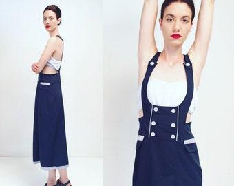 Vtg 90s Navy Blue Overall Dress