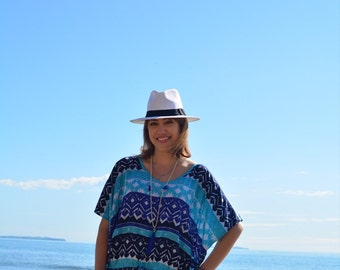 Cobalt and turquoise print beach kaftan
