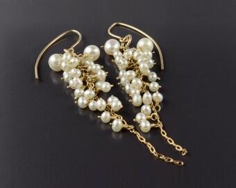 Pearl Cluster Earrings, Long Pearl Earrings, Statement Pearl Wedding Earrings, Statement bridal earrings