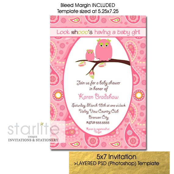 baby girl shower invitation template pink mother baby owl. Black Bedroom Furniture Sets. Home Design Ideas