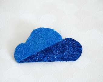PIN cloud blue leather and blue glitter
