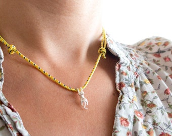 Climbing Rope Necklace, Cord Necklace, Knot Necklace With Silver Cat Charm. Unisex