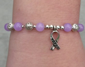Lavender Awareness Bracelet With Hope Ribbon with Silver or Gold Filigree even Clear for All Cancers Gynecological Cancer Hodgkins Lymphoma