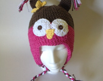 Owl winter hat, girl owl hat, toddler owl hat, baby owl hat, pink owl hat