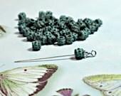 5mm Bali Style Barrel Popcorn Spacer Bead, Green Patina Mykonos Greek Metal Casting 12 Pcs (1 Dz) Bead Supply
