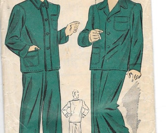 Vintage 1941 Du Barry Mens Pajamas Sewing Pattern 2713 Size 38-40