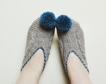 Womens Slippers, Beige Knitted Slippers with Pompoms, Cable Knit House Shoes, Slippers Socks