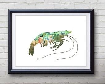 Green Prawn Ocean Animal Print - Home Living - Prawn Painting - Prawn Wall Art - Wall Decor - Home Decor, House Warming Gifts