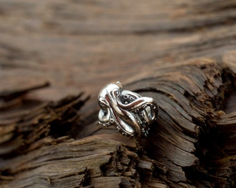 Sterling silver OCTOPUS ring - Steampunk ring - Nautical ring
