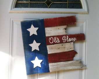 American Flag Wood - Door Sign - Americana Flag Sign - American Flag - 4th of July - Flag - Old Glory Sign - Birthday Gift - July 4th Gift