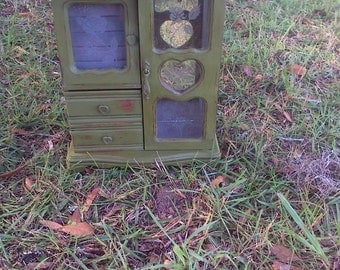 Shabby Chic Jewelry Box, Vintage Jewelry Box, Jewelry Box, Repurposed Box, Storage Box, Maggie Bleu's, Green Jewelry Box