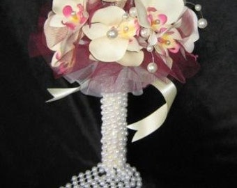 Pearls & Omega Orchids Bridal Bouquet