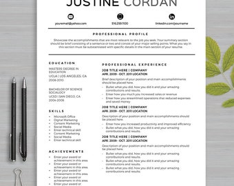 Apple pages resume etsy resume template for ms word and apple pages 1 and 2 page resume cover pronofoot35fo Gallery