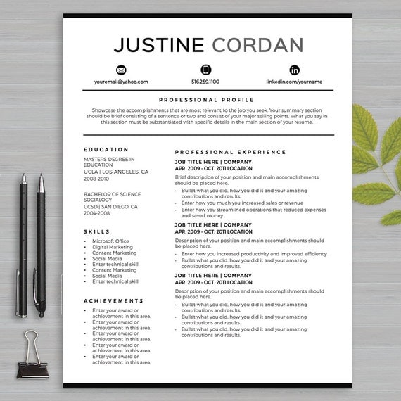 resume template for ms word and apple pages 1 and 2 page