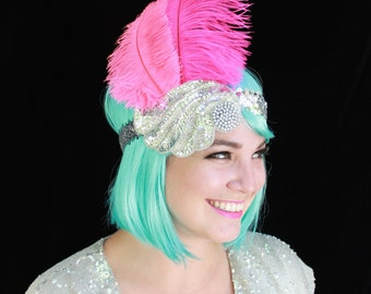 SALE! Starina - Pink Ostrich-feather & Sequin Headdress - Burlesque/Showgirl/Mardi Gras/Festival/Gatsby/Flapper Style/Carnival