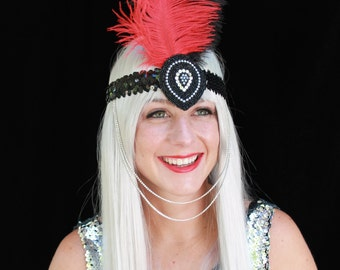SALE! Empress - Ostrich-feather Rhinestone and Sequin Headdress - Red and Black - Carnaval/Gatsby/Burlesque/Valentine's Day
