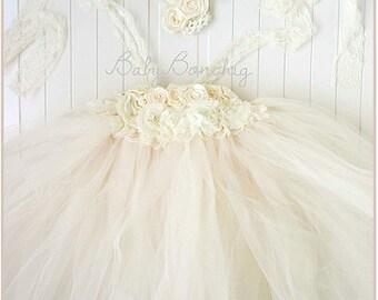 Boho Flower girl dress ivory cream rose tutu party wedding birthday lace