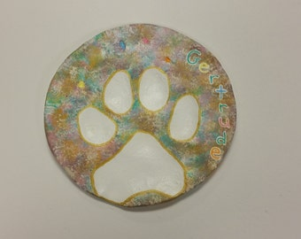 Painted Clay Paw Print- Marble