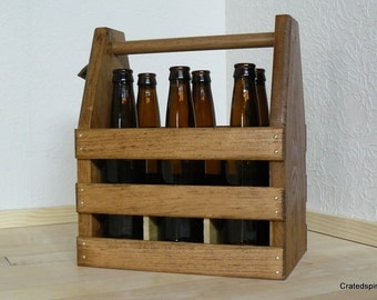 6 pack beer carrier with rustic bottle opener