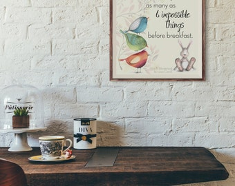 6 Impossible Things Digital Download 8x10 Lewis Carroll Alice in Wonderland