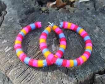 Bright Multi Colored Cotton Earrings