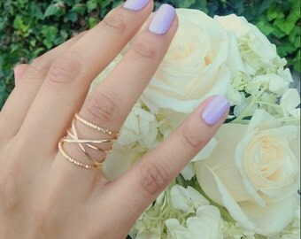12 K Gold Filled Criss Cross Ring, Dainty Ring, Stackable Ring, Ring Set, Bridesmaid ring, Wire Ring, Minimalist Ring, Wrap Ring, Boho ring