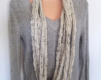 CLEARANCE - Oatmeal Color Lucetted Chain Infinity Scarf