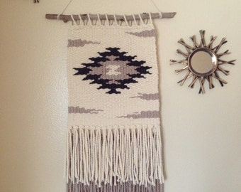 Handmade large woven wall hanging Aztec/western/boho/native
