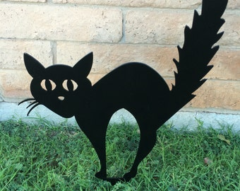 Black Cat, Halloween Cat, Scaredy Cat, Halloween Lawn Decor, Outdoor Halloween Decorations, Halloween Decor, Aluminum