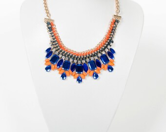 Statement Clashing Woven Jewel Necklace 70% OFF