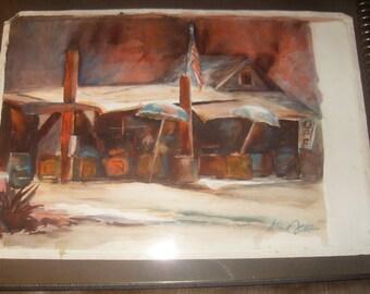 "Al Setton Watercolor ""Food Stands"""
