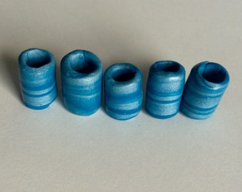 Shimmery Blues Handmade Polymer Dreadlock Bead