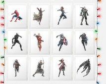 CIVIL WAR SET Captain America, Iron Man, Black Panther, Spiderman, Black Widow, Hawkeye, Falcon, Winter Soldier, Watercolor, Digital File