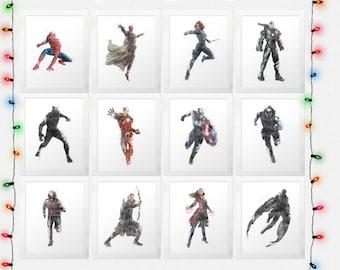 CIVIL WAR SET Captain America, Iron Man, Black Panther, Spiderman, Black Widow, Hawkeye, Falcon, Winter Soldier, Watercolor, Digital File