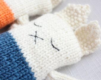 Knited rabbit. Baby toy. Animal knit. Handmade. 100% Merino Wool