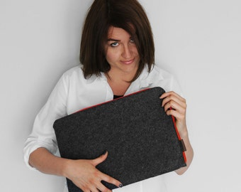 FELT MACBOOK SLEEVE 02 dark gray felt red zipper laptop cover all sizes