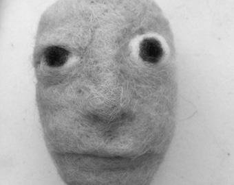 B&W Print of needlefelted wool face - Fiber art - Wool art