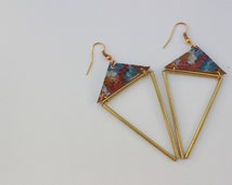 Lina Geometric Hand Painted Leather Earring with Himmeli Inspired Round Brass  Tube Elements